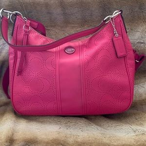 Coach signature perforated convertible hobo